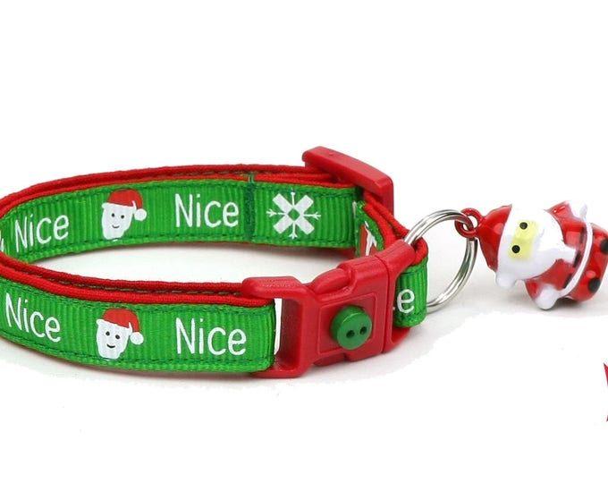 Christmas Cat Collar - Santa's Nice List - Small Cat / Kitten Size or Large(standard) Size Collar
