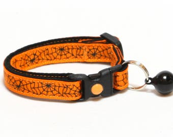 Halloween Cat Collar - Spiderwebs on Orange - Kitten or Large Size