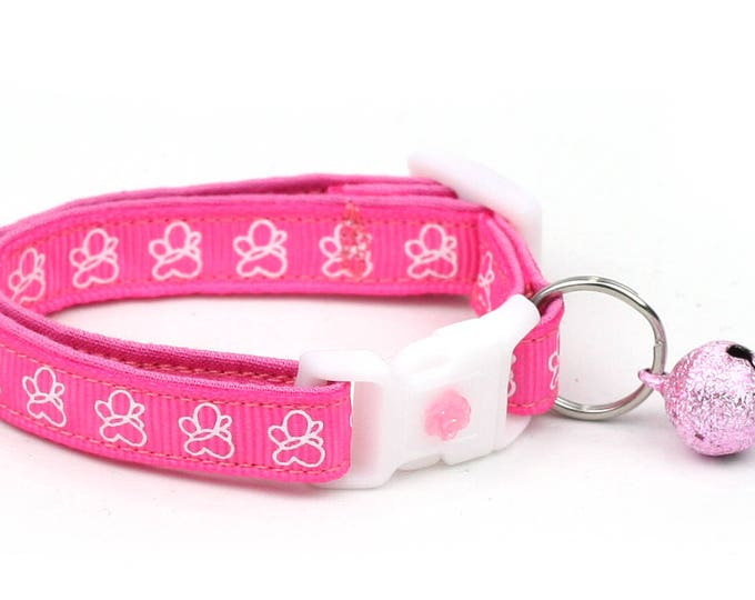 Butterfly Cat Collar - White Butterflies on Bright Pink- Small Cat / Kitten Size or Large Size