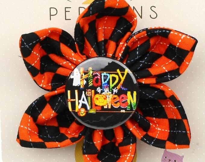 Halloween Dog Bow - Happy Halloween on Halloween Argyle - Flower - Collar Blossom - Large Size