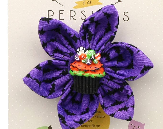 Halloween Dog Bow - Halloween Cupcake on Purple Bats - Flower - Collar Blossom - Medium Size
