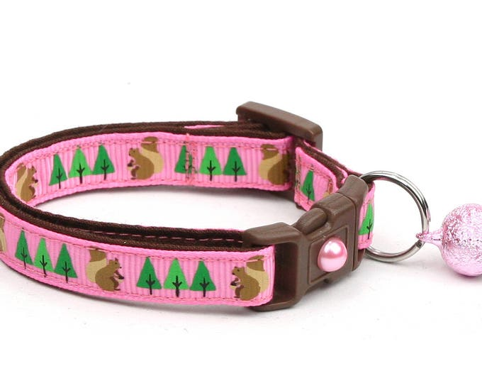 Woodland Cat Collar - Squirrels and Trees on Pink- Safety Breakaway - Small Cat / Kitten Size or Large Size