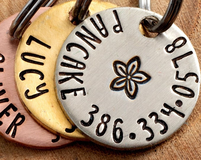 """Flower Pet ID Tag - Petite Cat or dog Tag - 3/4"""" pick your color Pet ID Tag - Personalized Cat ID Tag - Custom Lily Pet Tag"""