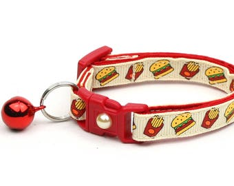 Cheeseburger Cat Collar - Burgers and Fries on Cream - Small Cat / Kitten Size or Large Size B39D22