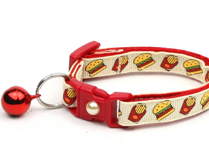 Cheeseburger Cat Collar - Burgers and Fries on Cream - Small Cat / Kitten Size or Large Size