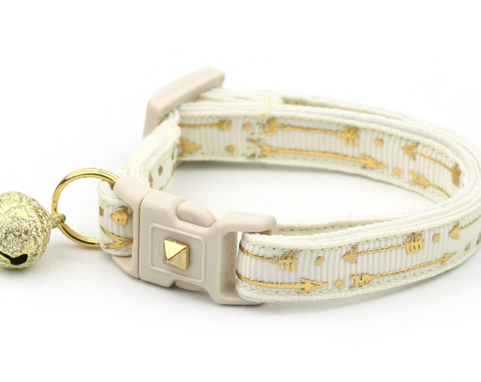 Arrow Cat Collar - Metallic Gold Arrows on Ivory - Small Cat / Kitten Size or Large Size - Woodland - Boho