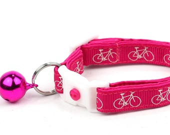 Bicycle Cat Collar - Bicycles on Pink - Small Cat / Kitten Size or Large Size B75D169