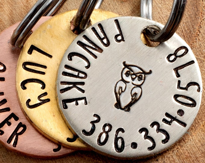 """Owl Pet ID Tag - Petite Cat or dog Tag - 3/4"""" pick your color Pet ID Tag - Personalized Cat ID Tag - Custom Pet Tag"""