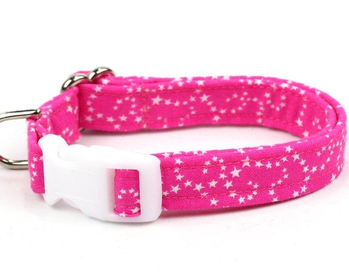 Pink Dog Collar - White Stars on Pink - Mini Small Medium Large XL Dog Collar