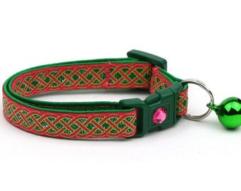 St. Patrick's Day Cat Collar - Celtic Knots on Bright Pink- Small Cat / Kitten or Large Cat Collar D50