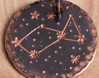 "Lyra Constellation Custom Pet Tag - 1"" Copper Dog ID Tag - Hand Stamped Cat ID Tag -- Lyra ID Tag -- Stars -- Constellation Pet Tag"