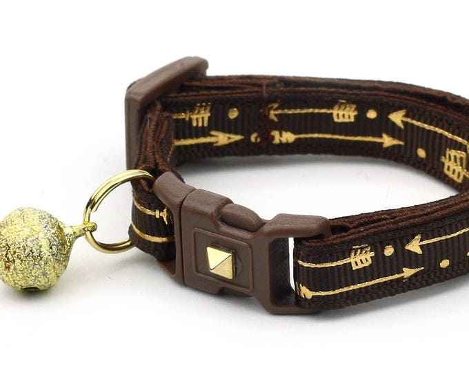 Arrow Cat Collar - Metallic Gold Arrows on Brown - Small Cat / Kitten Size or Large Size - Woodland - Boho