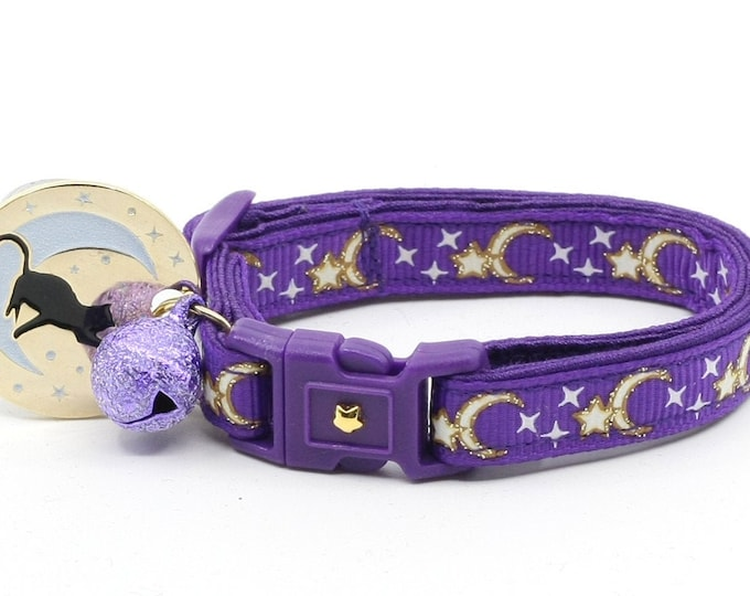 Moon Cat Collar - Gold Moons and Stars on Purple - Breakaway Cat Collar - Kitten or Large size - Glow in the Dark B18D204