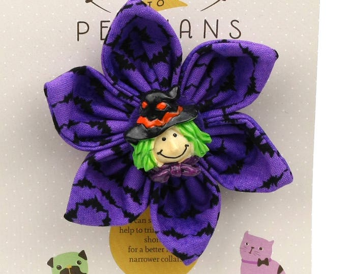 Halloween Dog Bow -Happy Witch on Purple Bats - Flower - Collar Blossom - Medium Size