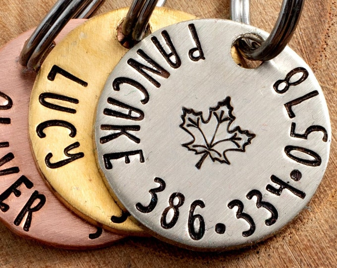 """Maple Leaf Pet ID Tag - Petite Cat or dog Tag - 3/4"""" pick your color Pet ID Tag - Personalized Cat ID Tag - Canada Pet Tag"""