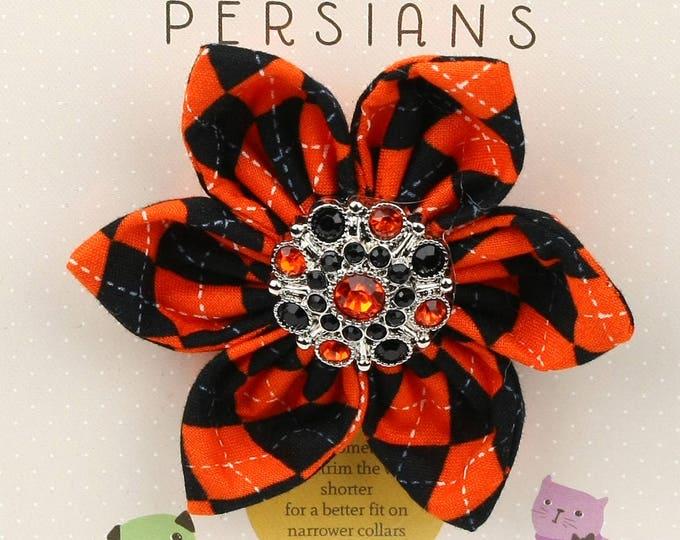 Halloween Dog Bow - Orange and Black Rhinestones on Halloween Argyle - Flower - Collar Blossom - Medium Size