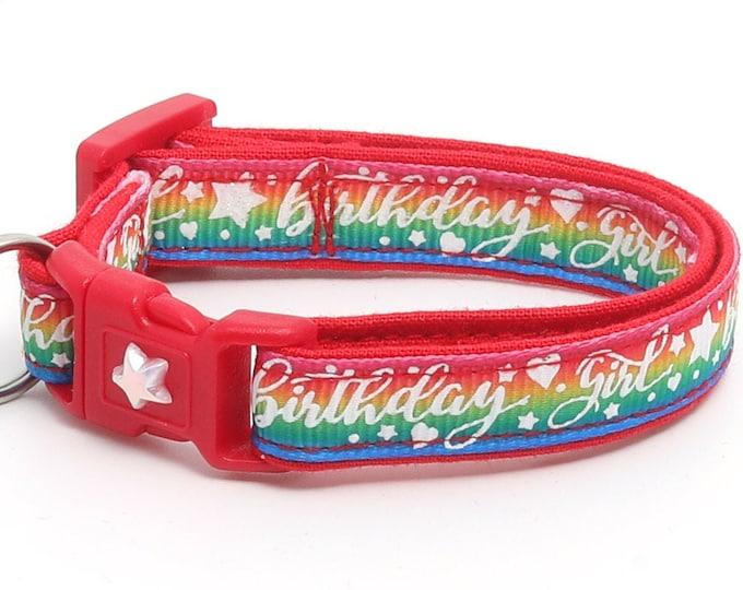 Birthday Cat Collar - Birthday Girl on Rainbow - Safety Breakaway - Kitten or Large Size B3D25