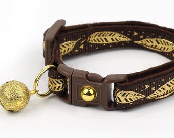Feather Cat Collar - Metallic Gold Feathers on Brown - Small Cat / Kitten Size or Large Size - Woodland - Boho B104D150