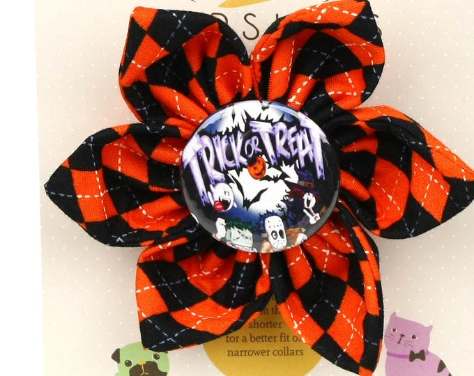 Halloween Dog Bow - Trick Or Treat on Halloween Argyle - Flower - Collar Blossom - Large Size
