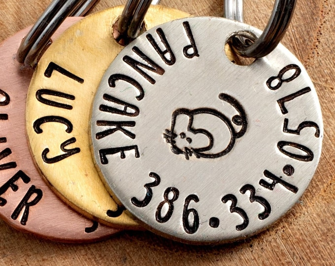 """Mouse Cat ID Tag - Petite Cat or dog Tag - 3/4"""" pick your color Pet ID Tag - Personalized Cat ID Tag - Custom Pet Tag"""