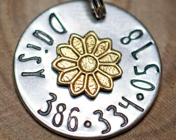"Daisy Pet ID Tag - Small Cat Tag - 3/4"" Stainless Steel Pet ID Tag - Flower Cat Identification - Personalized Cat ID Tag - Custom Pet Tag"
