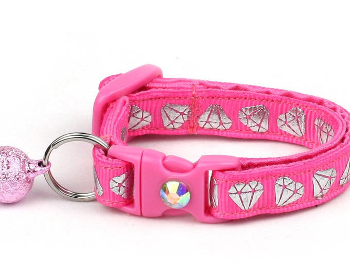 Diamond Cat Collar -Shining Diamonds on Pink -Small Cat / Kitten Size or  Large Size Collar