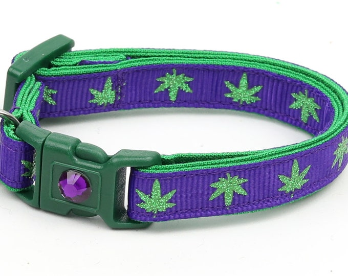 Weed Cat Collar - Marijuana Leaves on Purple - Small Cat / Kitten Size or Large Size