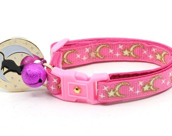 Moon Cat Collar - Gold Moons and Stars on Bright Pink - Breakaway Cat Collar - Kitten or Large size - Glow in the Dark B59D204