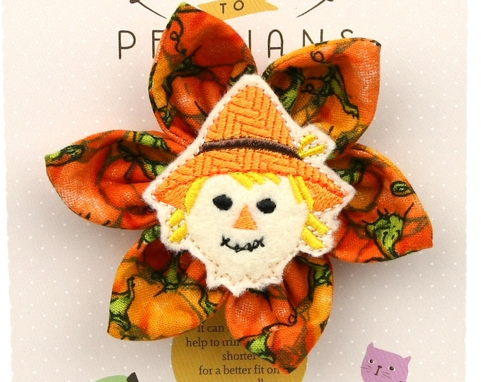 Autumn Dog Bow - Scarecrow on Pumpkins - Flower - Collar Blossom - Medium Size