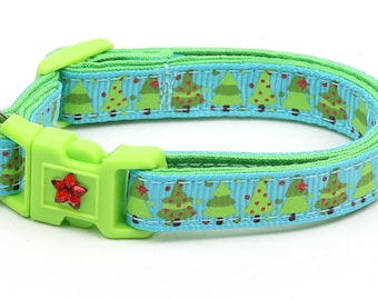 Christmas Cat Collar - Jolly Christmas Trees on Blue - Kitten or Large Size B41D48