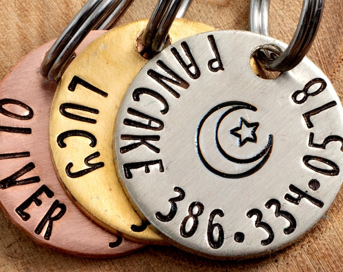 """Moon & Star Pet ID Tag - Petite Cat or dog Tag - 3/4"""" pick your color Pet ID Tag - Personalized Cat ID Tag - Lunar Pet Tag"""