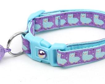 Llama Cat Collar - Cute Blue Llamas on Purple - Safety Breakaway - Kitten or Large Size