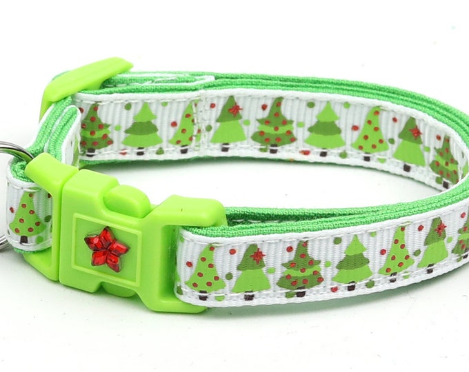 Christmas Cat Collar - Jolly Christmas Trees on White - Kitten or Large Size