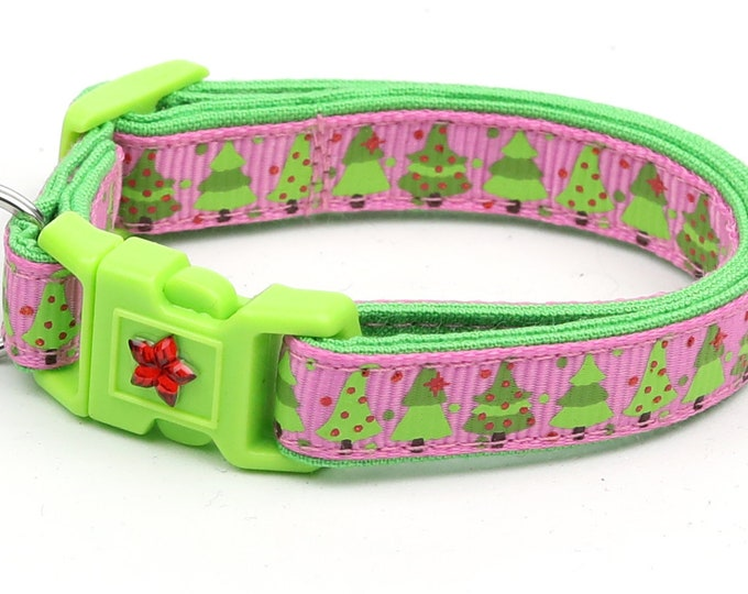 Christmas Cat Collar - Jolly Christmas Trees on Pink - Kitten or Large Size