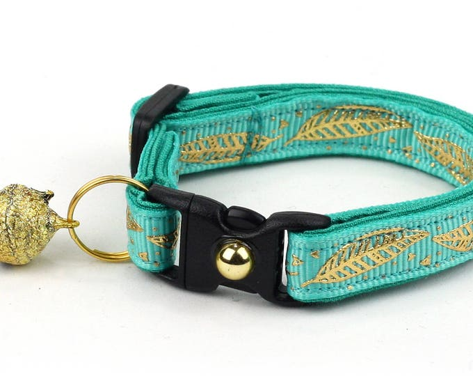 Feather Cat Collar - Metallic Gold Feathers on Turquoise - Small Cat / Kitten Size or Large Size - Woodland - Boho - Teal B85