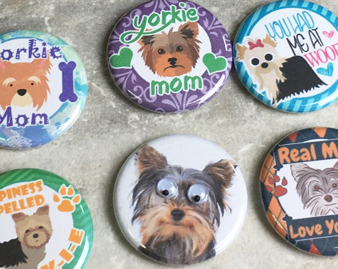 Dog Magnets - Yorkie Mom - Set of 6 - Refrigerator Magnets - Office Decor