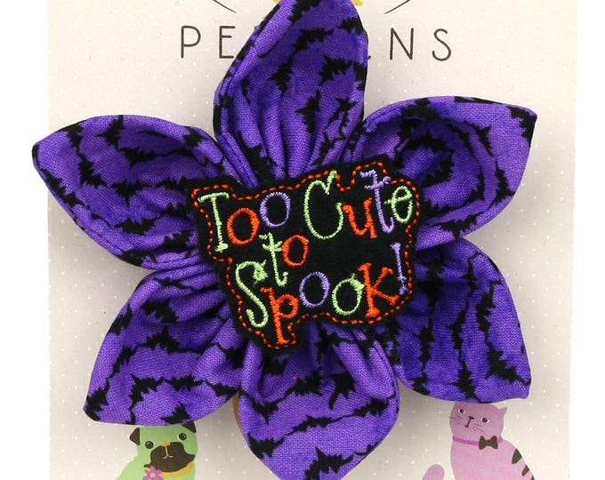Halloween Dog Bow - Too Cute to Spook! on Purple Bats - Flower - Collar Blossom - Large Size