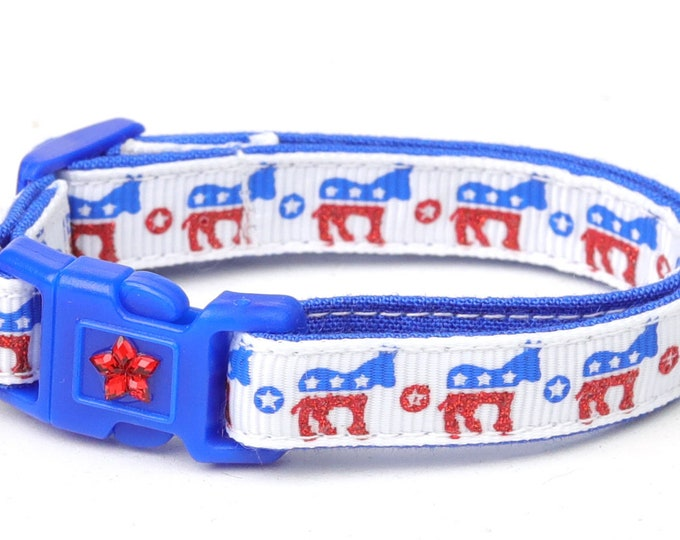 Democrat Cat Collar - Democratic Donkeys - Kitten or Large Size B30D70