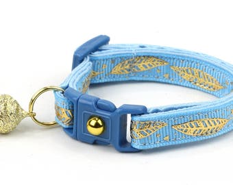 Feather Cat Collar - Metallic Gold Feathers on Light Blue - Small Cat / Kitten Size or Large Size - Woodland - Boho B105D150