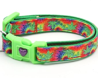 Weed Cat Collar - Marijuana Leaves on Tie Dye - Small Cat / Kitten Size or Large Size
