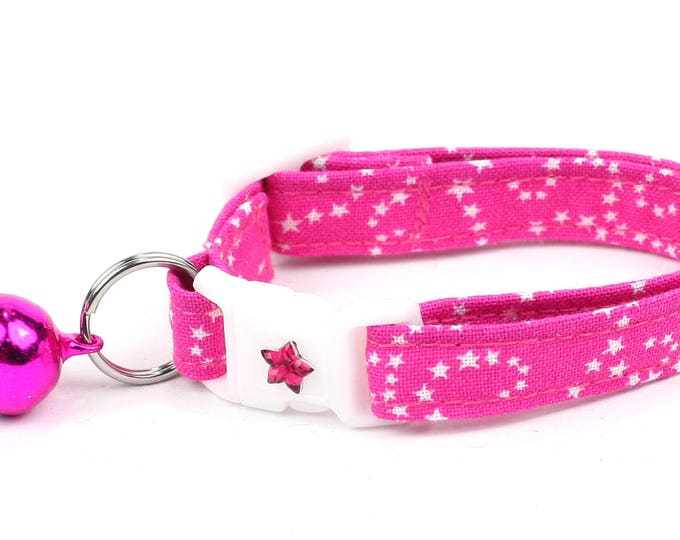 Star Cat Collar - White Stars on Pink - Small Cat / Kitten Size or Large Size