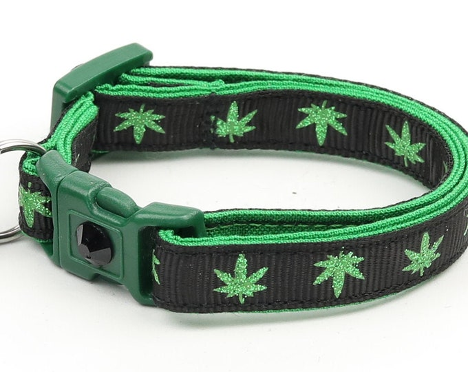 Weed Cat Collar - Marijuana Leaves on Black - Safety Breakaway - Small Cat / Kitten Size or Large Size