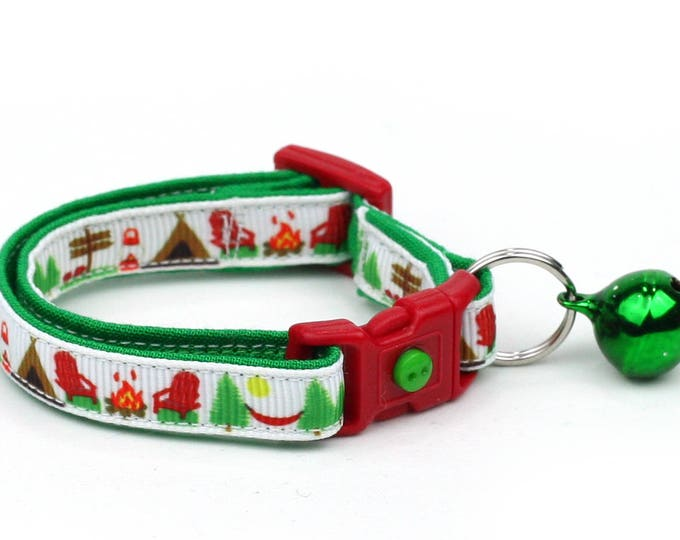 Camping Cat Collar - Summer Camp on White - Small Cat / Kitten Size or Large Size B60D160