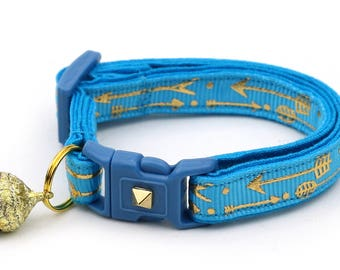Arrow Cat Collar - Metallic Gold Arrows on Tropical Blue - Small Cat / Kitten Size or Large Size - Woodland - Boho B105D188