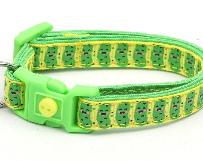 Pickle Cat Collar - Pickles on Yellow - Small Cat / Kitten Size or Large Size