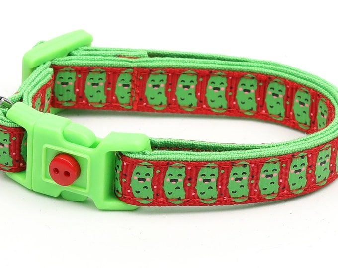Pickle Cat Collar - Pickles on Red - Small Cat / Kitten Size or Large Size