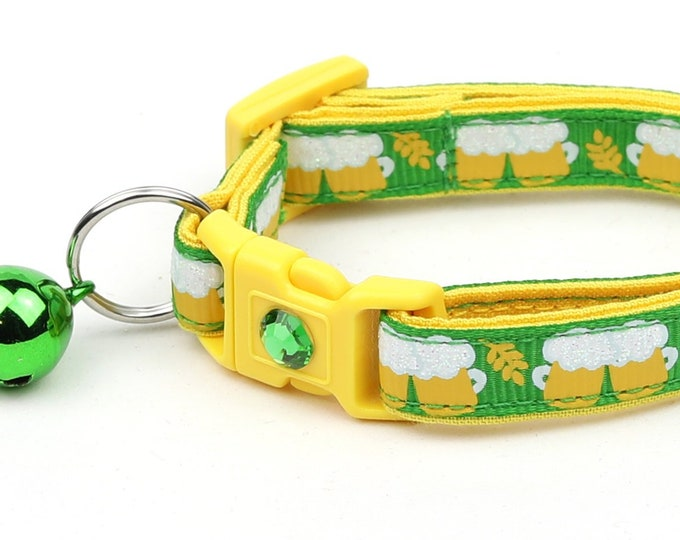 St. Patrick's Day Cat Collar - Beer Mugs on Green - Small Cat / Kitten Size or Large Size