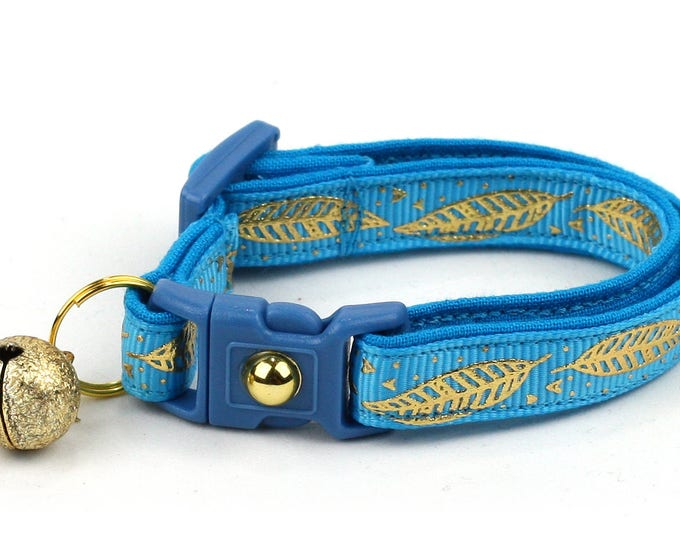 Feather Cat Collar - Metallic Gold Feathers on Tropical Blue - Small Cat / Kitten Size or Large Size - Woodland - Boho