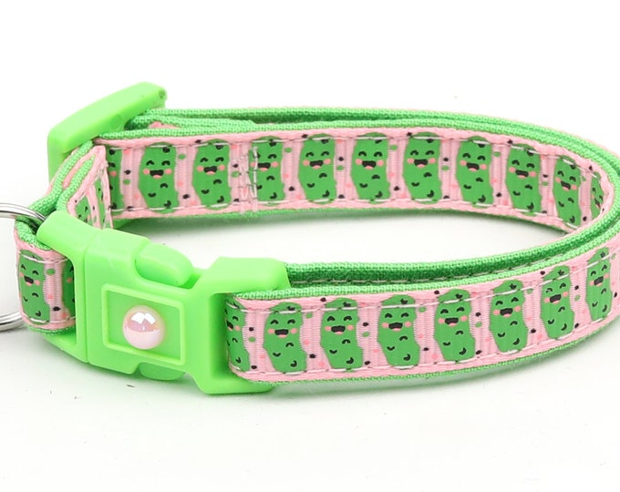 Pickle Cat Collar - Pickles on Pink - Small Cat / Kitten Size or Large Size B35D56