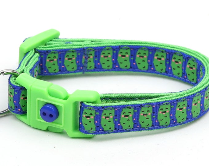 Pickle Cat Collar - Pickles on Royal Blue - Small Cat / Kitten Size or Large Size
